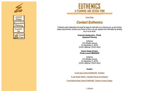 Screenshot of Contact Page euthenics.com - EUTHENICS - A Planning and Design Firm - captured Oct. 3, 2014