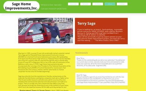 Screenshot of About Page sagehomeimprove.com - About - captured Nov. 17, 2016