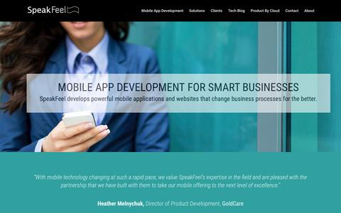 Screenshot of Home Page speakfeel.ca - SpeakFeel - Guelph, Toronto - Mobile App Development - captured Feb. 15, 2016