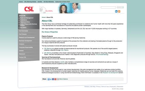 Screenshot of About Page csl.com.au - CSL Ltd is a leader in plasma protein biotherapeutics - captured Sept. 25, 2014