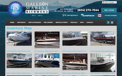 Screenshot of Site Map Page galleonmarine.com - Inventorymap | Galleon Marine | Richmond British Columbia - captured Oct. 20, 2016