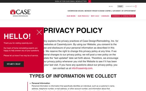 Screenshot of Privacy Page caseindy.com - Privacy Policy | Case Indy - captured Oct. 26, 2016