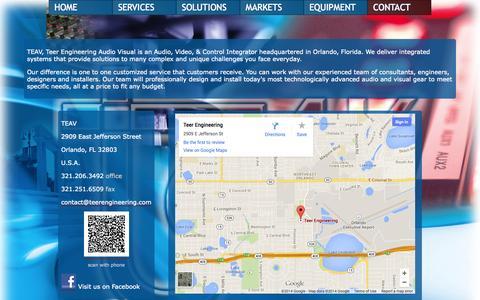 Screenshot of Contact Page teerengineering.com - TEAV - Teer Engineering - captured Oct. 9, 2014