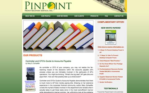 Screenshot of Products Page pinpointprofit.com - Our Products «  Pinpoint Profit Recovery Services, Inc. - captured Oct. 2, 2014