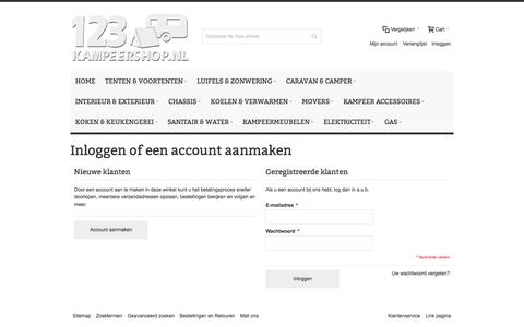Screenshot of Login Page 123kampeershop.nl - Klant-login - captured Nov. 28, 2016