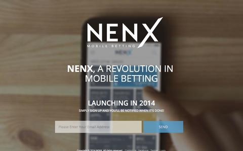 Screenshot of Home Page nenx.com - NENX - Mobile Spread Bets - captured Oct. 6, 2014
