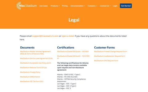 Screenshot of Privacy Page Terms Page macstadium.com - MacStadium Legal and Privacy Information - captured July 27, 2018