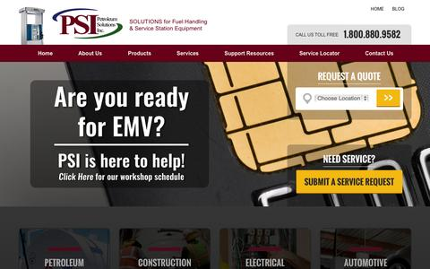 Screenshot of Home Page petroleumsolutionsinc.com - PSI > Home - captured July 20, 2015