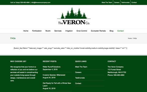 Screenshot of FAQ Page theveroncompany.com - FAQs   The Veron Company - captured Sept. 21, 2018