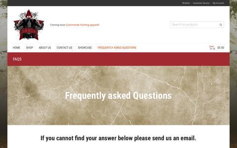 Screenshot of FAQ Page commandohuntingproducts.com - FAQs | Command the wild - captured Dec. 10, 2015