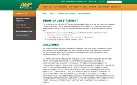 Screenshot of Terms Page agp.com - AGP - Terms and Conditions - captured Oct. 3, 2018