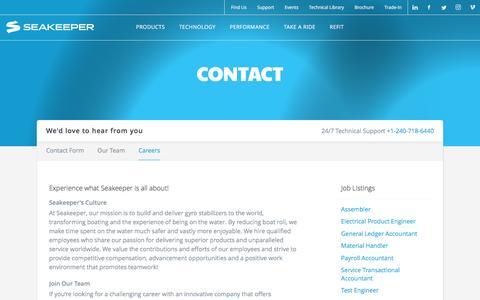 Screenshot of Jobs Page seakeeper.com - Contact | Seakeeper - captured Oct. 15, 2016