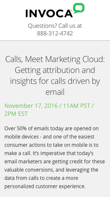 Webinar | Calls, Meet Marketing Cloud: Getting attribution and insights for calls driven by email | Invoca