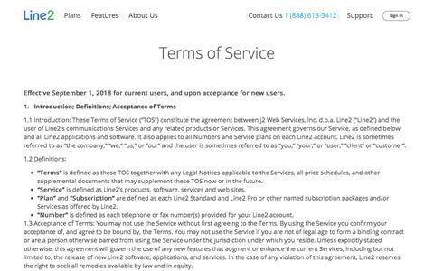 Screenshot of Terms Page line2.com - Line2 - Terms of Service - captured Jan. 21, 2020