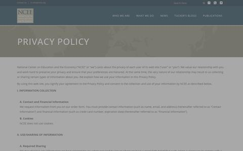Screenshot of Privacy Page ncee.org - NCEE |   Privacy Policy - captured Oct. 23, 2017
