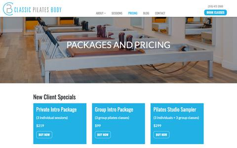 Screenshot of Pricing Page classicpilatesbody.com - Packages and Pricing – Classic Pilates Body - captured Dec. 8, 2018