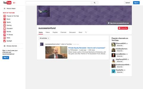 Screenshot of YouTube Page youtube.com - successionfund  - YouTube - captured Nov. 5, 2014