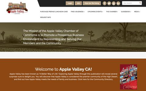Screenshot of Home Page avchamber.org - Home - Apple Valley Chamber of Commerce, CA - captured Oct. 3, 2018