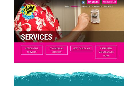 Screenshot of Services Page alohaaire.com - Services - Aloha Aire Heating & Cooling - captured Oct. 8, 2017