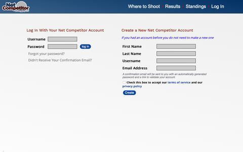 Screenshot of Login Page netcompetitor.com - Net Competitor :: Login - captured Oct. 18, 2018