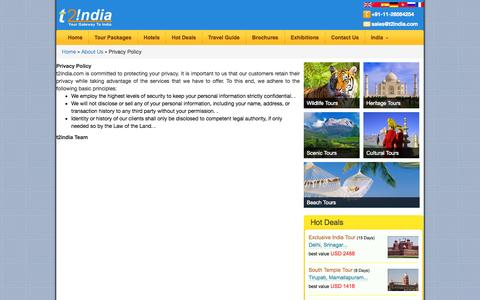 Screenshot of Privacy Page t2india.com - Policy India Travel - captured Sept. 23, 2014
