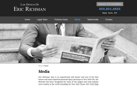 Screenshot of Press Page richman-law.com - Media - The Law Offices of Eric Richman - captured April 24, 2017