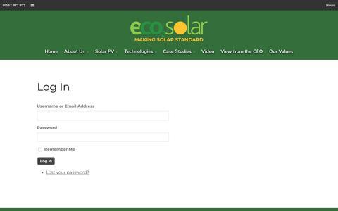 Screenshot of Login Page eco2solar.co.uk - Log In - captured Sept. 27, 2018