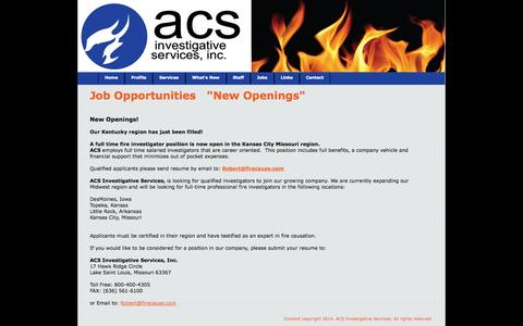 Screenshot of Jobs Page firecause.com - Jobs at ACS Investigative Services - captured Oct. 4, 2014