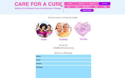 Screenshot of Contact Page careforacure.org - Care for a Cure contact us - captured Nov. 2, 2018