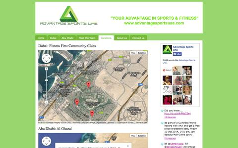 Screenshot of Locations Page advantagesportsuae.com - Locations - Advantage Sports UAE - captured Oct. 29, 2014