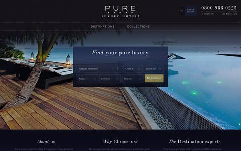 Screenshot of Home Page pureluxuryhotels.co.uk - Pure Luxury Hotels - captured Dec. 14, 2015