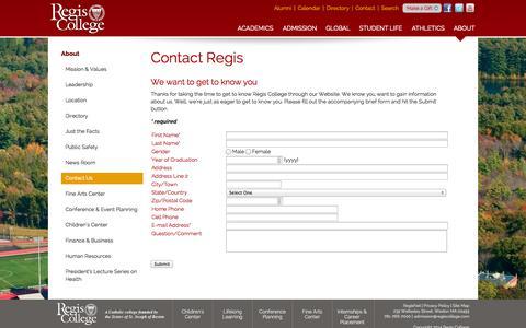 Screenshot of Contact Page regiscollege.edu - Regis College: Contact Regis - captured Oct. 26, 2014