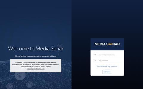 Screenshot of Login Page mediasonar.com - Sign In to Media Sonar - captured July 8, 2019