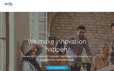 Screenshot of Jobs Page wds.co - Careers at WDS - captured Aug. 13, 2015