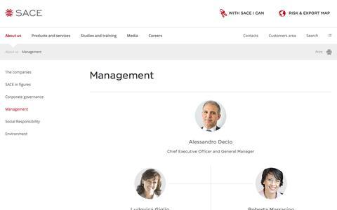Screenshot of Team Page sace.it - SACE - Management - captured July 20, 2016