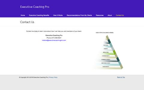Screenshot of Contact Page executivecoachingpro.com - Contact Us «  Achieve Success with Executive Coaching Pro! - captured July 24, 2018