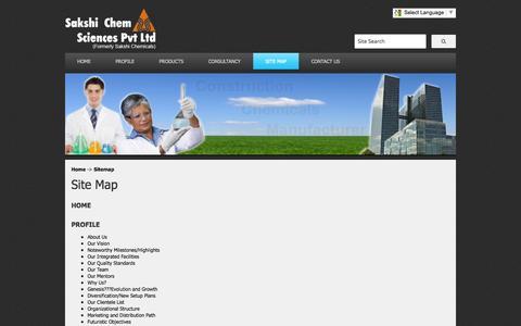 Screenshot of Site Map Page sakshichemsciences.com - New Range of Construction Chemicals - Sakshi Chem Sciences Pvt. Ltd. - captured Sept. 24, 2014