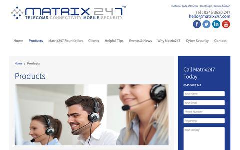 Screenshot of Products Page matrix247.com - Matrix247 - Products - captured Oct. 1, 2018