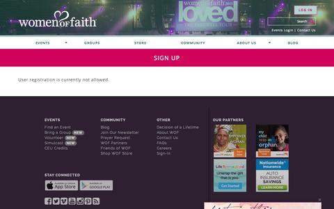 Screenshot of Signup Page womenoffaith.com - Sign Up - Women of Faith - captured Sept. 27, 2015