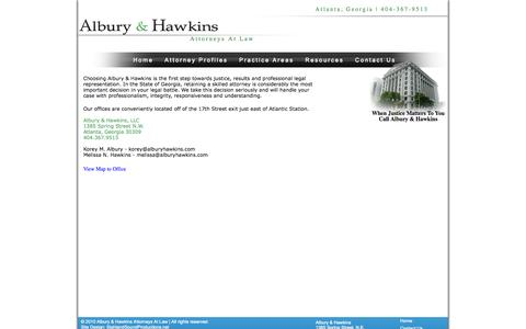 Screenshot of Contact Page Maps & Directions Page alburyhawkins.com - Contacting Albury and Hawkins - captured Oct. 23, 2014