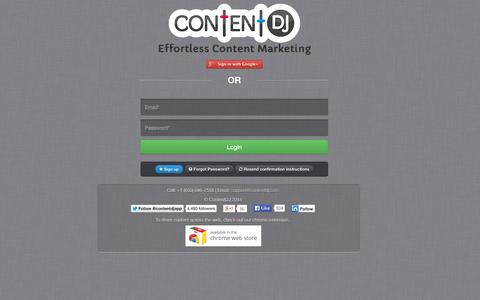 Screenshot of Login Page contentdj.com - Social Media Editorial Calendar with Content Recommendations | ContentDJ - captured Sept. 13, 2014