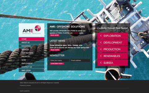 Screenshot of Home Page amepl.com.au - AME Offshore Solutions | Offshore Marine Services & IMR Subsea Engineering - captured Oct. 4, 2014