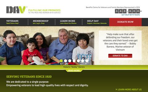 Screenshot of Home Page dav.org - DAV : Disabled American Veterans Charity - FIND, DONATE, JOIN & VOLUNTEER to HELP Disabled American Veterans - captured Dec. 15, 2015