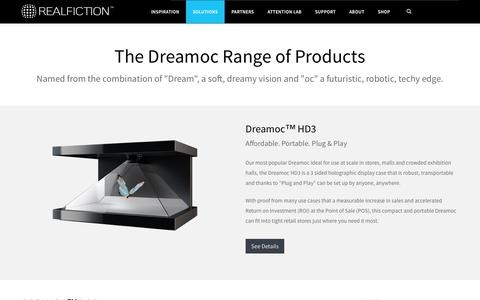 Screenshot of Products Page realfiction.com - Dreamoc - Realfiction's 3D Holographic Display range - captured Dec. 7, 2016