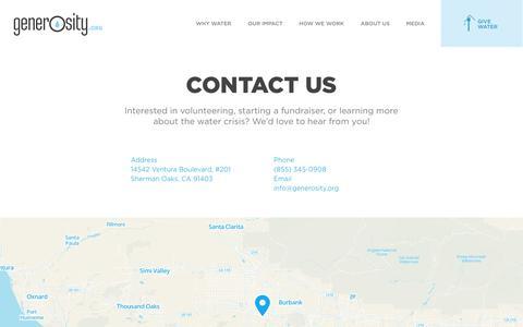 Screenshot of Contact Page generosity.org - Contact Us - captured Oct. 9, 2014