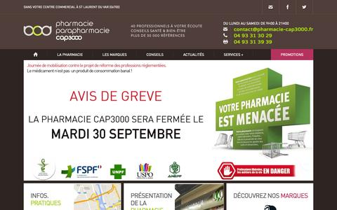 Screenshot of Home Page Services Page pharmacie-cap3000.com - Parapharmacie - Pharmacie Saint Laurent, Nice Ouest - Pharmacie Cap 3000 - captured Sept. 29, 2014