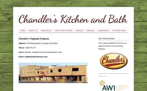 Screenshot of Hours Page chandlerkitchens.com - Chandler's Plywood Products - Hours of Operation - captured Oct. 2, 2014