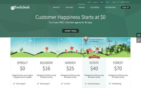 Screenshot of Pricing Page freshdesk.com - Freshdesk Plans & Pricing | Freshdesk help desk software trial - captured Dec. 17, 2014