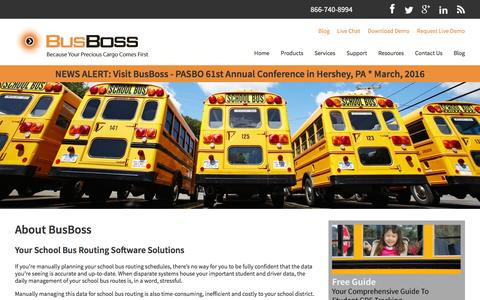 Screenshot of Products Page busboss.com - School Bus Routing Software | Transportation Routing And Scheduling - captured Feb. 14, 2016