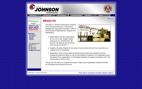 Screenshot of About Page ghjohnson.com - Glenn H. Johnson Construction: Expertise and Integrity - captured Oct. 2, 2014